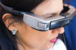 smart building monitoring women wearing glasses